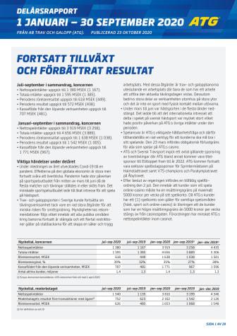 Delårsrapport ATG - Q3 2020