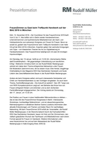 FrauenZimmer zu Gast beim Treffpunkt Handwerk auf der BAU 2019 in München