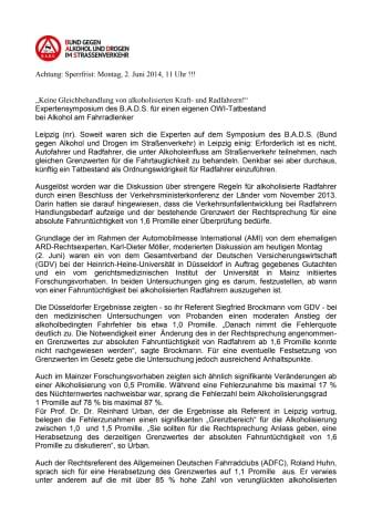 """""""Keine Gleichbehandlung von alkoholisierten Kraft- und Radfahrern!"""""""