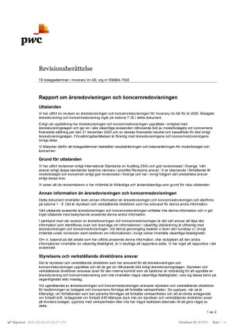 Revisionsberättelse Invoicery Int AB 2020