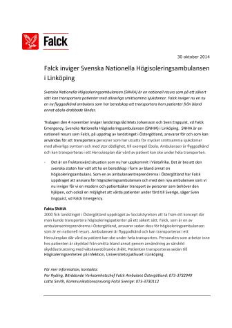 Falck inviger Svenska Nationella Högisoleringsambulansen