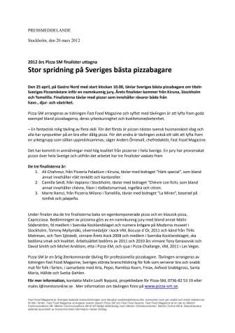 2012 års Pizza SM finalister uttagna - Stor spridning på Sveriges bästa pizzabagare