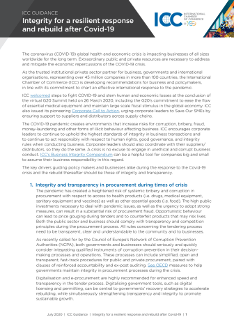 ICC Guidance: Integrity for a resilient response and rebuild after Covid-19