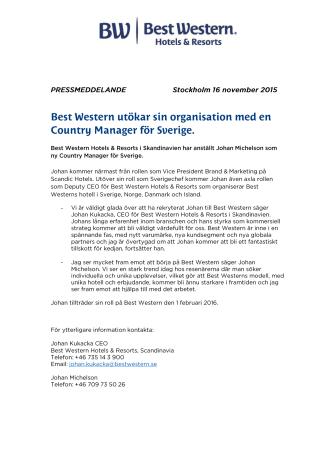 Best Western utökar sin organisation med en Country Manager för Sverige.