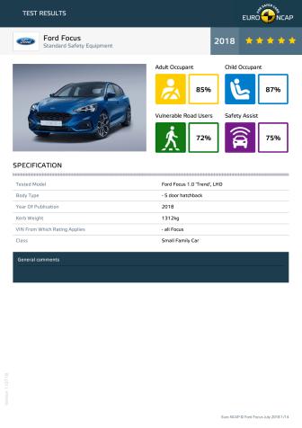 Ford Focus Euro NCAP datasheet - 2018