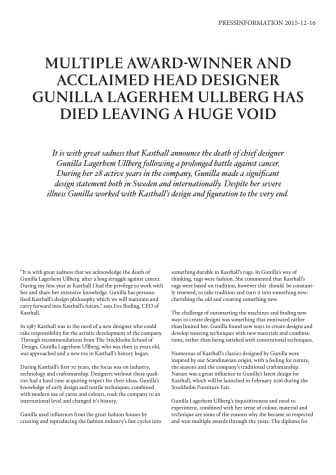 MULTIPLE AWARD-WINNER AND ACCLAIMED HEAD DESIGNER GUNILLA LAGERHEM ULLBERG HAS DIED LEAVING A HUGE VOID
