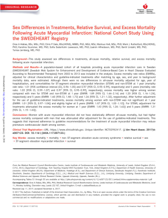 Studie: Sex Differences in Treatments, Relative Survival, and Excess Mortality Following Acute Myocardial Infarction: National Cohort Study Using the SWEDEHEART Registry
