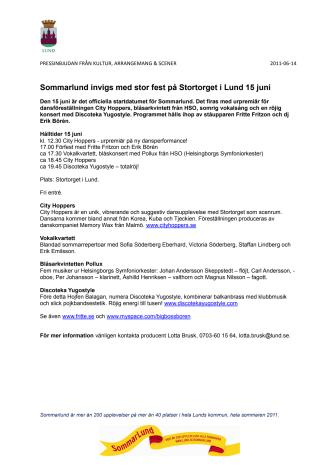 Sommarlund invigs med stor fest på Stortorget i Lund 15 juni