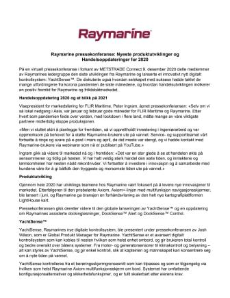 Raymarine pressekonferanse: Nyeste produktutviklinger og  Handelsoppdateringer for 2020