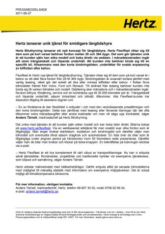 Hertz lanserar unik tjänst för smidigare långtidshyra