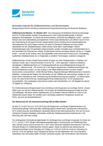 Glasfaser für Gräfenhainichen und Zschornewitz