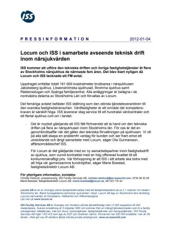 Locum och ISS i samarbete avseende teknisk drift inom närsjukvården
