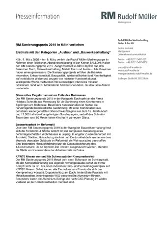 RM Sanierungspreis 2019 in Köln verliehen