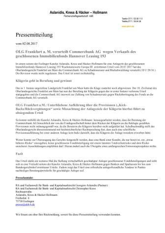 OLG Frankfurt a.M. verurteilt Commerzbank AG wegen Falschberatung einer Hannover Leasing 193 Anlegerin
