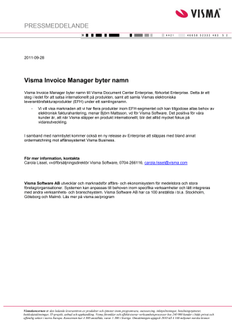 Visma Invoice Manager byter namn