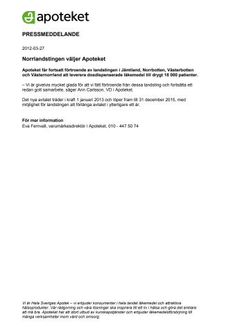 Norrlandstingen väljer Apoteket