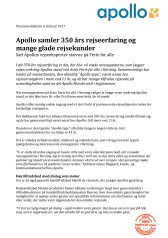 Apollo samler 350 års rejseerfaring og mange glade rejsekunder