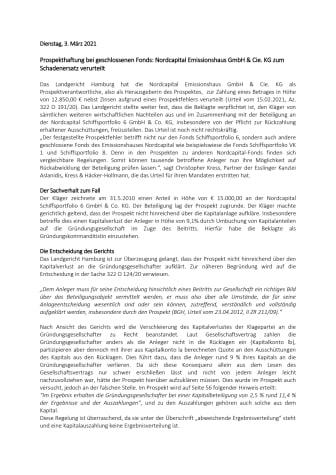 Prospekthaftung bei geschlossenen Fonds: Nordcapital Emissionshaus GmbH & Cie. KG zum Schadenersatz verurteilt