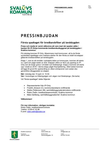 Pressinbjudan: Första spadtaget för bredbandsfiber på landsbygden