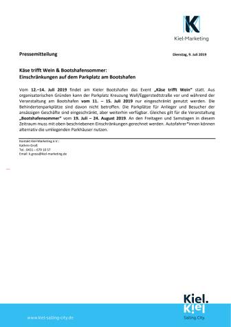 Einschränkungen auf dem Parkplatz am Bootshafen vom 11. – 15. Juli 2019  und 19. Juli – 24. August 2019