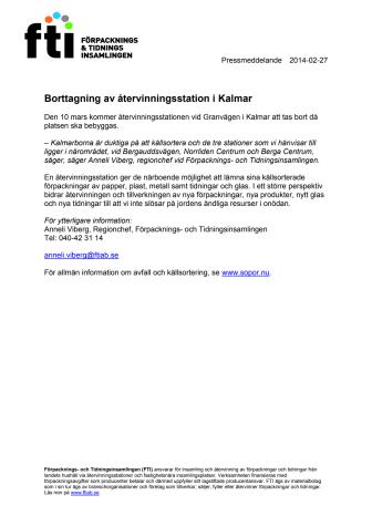 Borttagning av återvinningsstation i Kalmar
