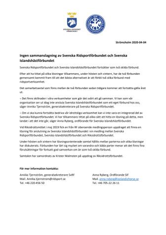 Ingen sammanslagning av Svenska Ridsportförbundet och Svenska Islandshästförbundet