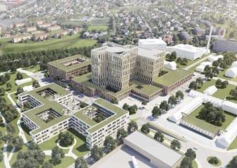 Tidligere skisseforslag for Nye Aker Sykehus utarbeitet av Nordic Office of Architects og AART