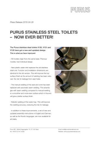 Purus stainless steel toilets  –  now ever better