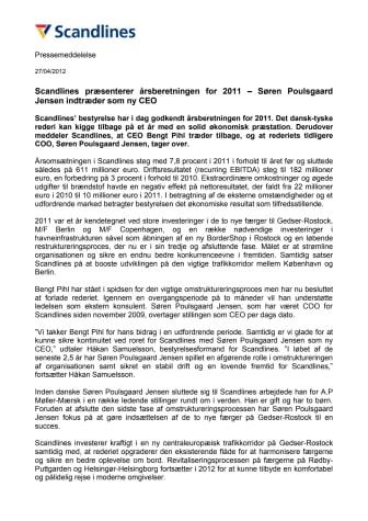 Scandlines præsenterer årsberetningen for 2011 – Søren Poulsgaard Jensen indtræder som ny CEO