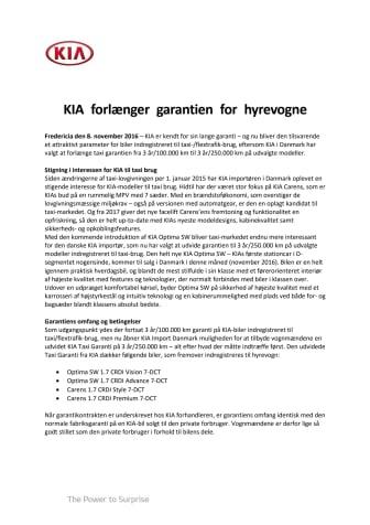 KIA forlænger garantien for hyrevogne