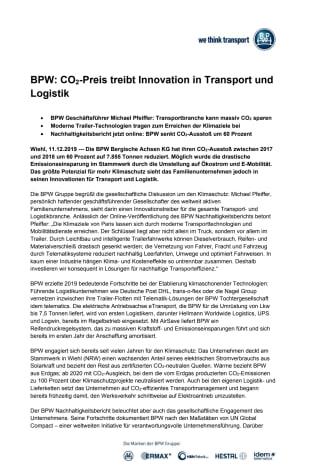 BPW: CO2-Preis treibt Innovation in Transport und Logistik
