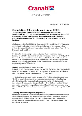 Cranab firar 60 års-jubileum under 2020