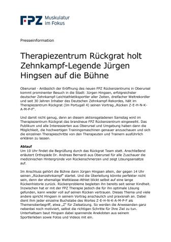 Therapiezentrum Rückgrat holt Zehnkampf-Legende Jürgen Hingsen auf die Bühne
