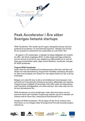 Peak Accelerator i Åre söker Sveriges hetaste startups