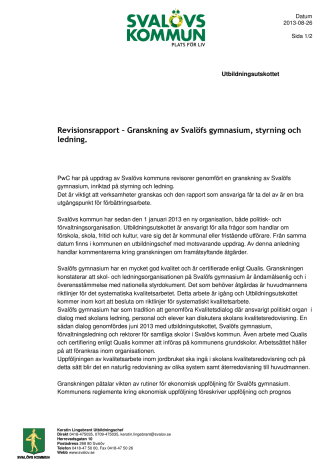 Svar på granskningsrapport av Svalöfs gymnasium
