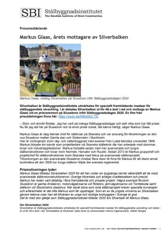 Markus Glaas, årets mottagare av Silverbalken