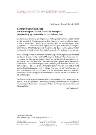 Allgemeine Anthroposophische Gesellschaft: Rehabilitierung von Elisabeth Vreede und Ita Wegman / Keine Bestätigung von Paul Mackay und Bodo von Plato als Mitglieder des Vorstands