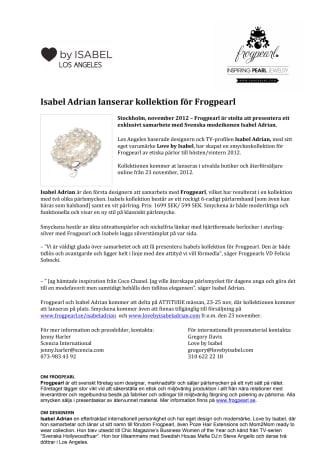 Isabel Adrian lanserar kollektion för Frogpearl