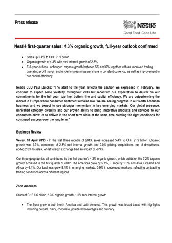 Nestlés kvartalsresultat visar på 4,3% tillväxt - i linje med årsmålet