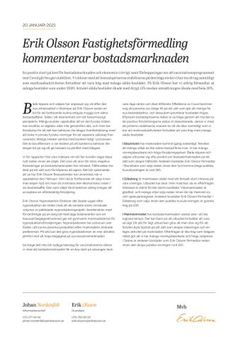 Erik Olsson Fastighetsförmedling kommenterar bostadsmarknaden 20 januari 2021