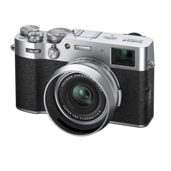 X-100V_kihon_NANAMEleft_lenshood_silver