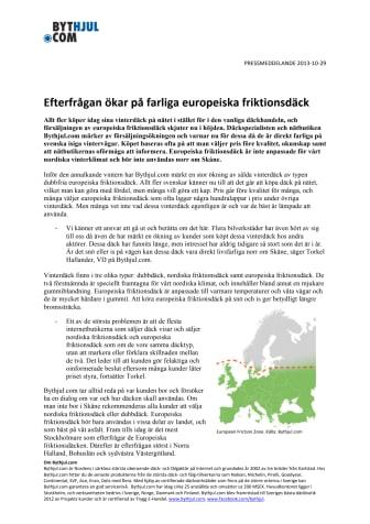 Efterfrågan ökar på farliga europeiska friktionsdäck
