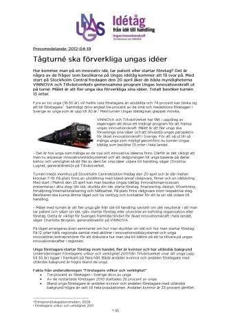 Tågturné ska förverkliga ungas idéer