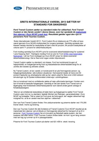 ÅRETS INTERNATIONALE VAREBIL 2013 SÆTTER NY STANDARD FOR SIKKERHED