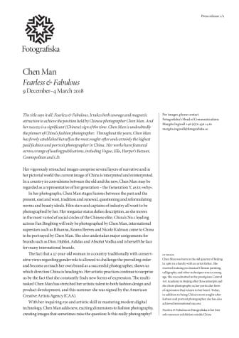Chen Man at Fotografiska - a sign of (Chinese) time