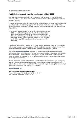 NetOnNet noteras på Nya Marknaden den 15 juni 2000