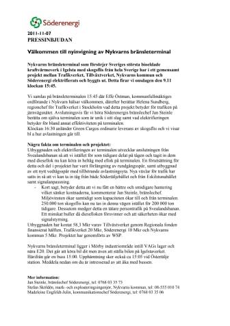 Pressinbjudan: Välkommen till nyinvigning av Nykvarns bränsleterminal