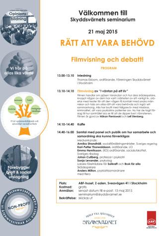 Rätt att vara behövd - filmvisning och debatt den 21 maj avslutar vårens seminarieserie