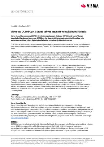 Visma osti OCTO3 Oy:n ja jatkaa vahvaa kasvua IT-konsultointimarkkinalla