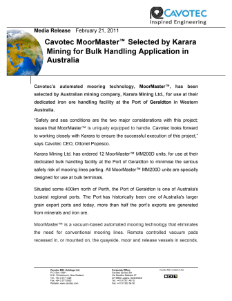 Cavotec MoorMaster™ Selected by Karara Mining for Bulk Handling Application in Australia